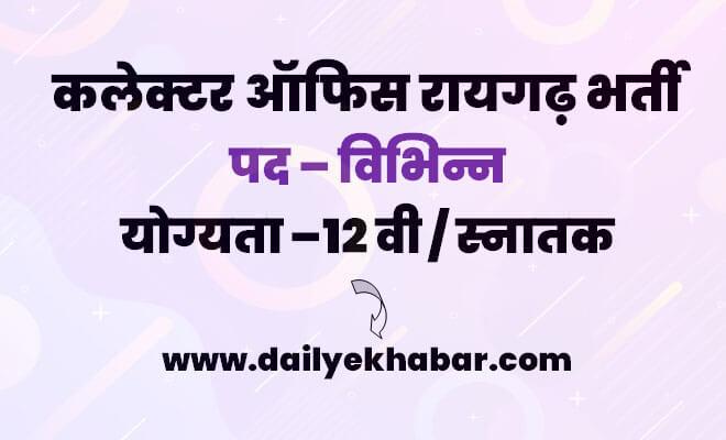 Collector Office Raigarh Recruitment